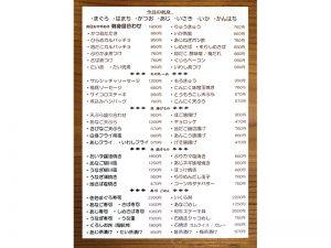 居酒屋おおたけ おしながき 今日の刺身 その他一品 魚揚げもの 魚焼もの 寿司 ごはん